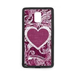 Samsung Galaxy Note 4 Cell Phone Case Black Heart Paisley LV7924358