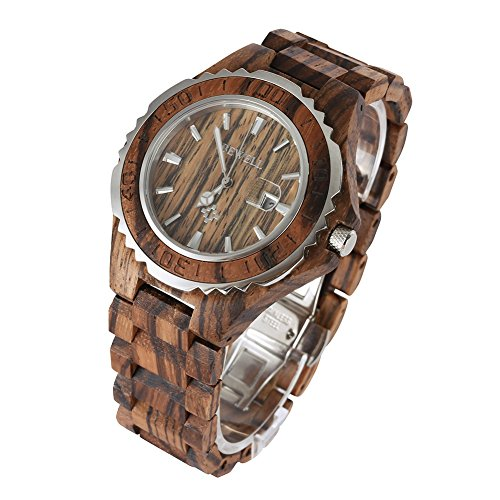 Wooden Watch, Warmlk ZSW-100 Mens Wooden Watch Analog Quartz Movement with Date Display Retro Style - Zebra-Wood 2