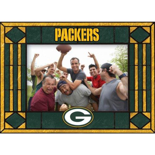 Green Bay Packers Art Glass Horizontal Frame - Nfl Hand Painted Art Glass