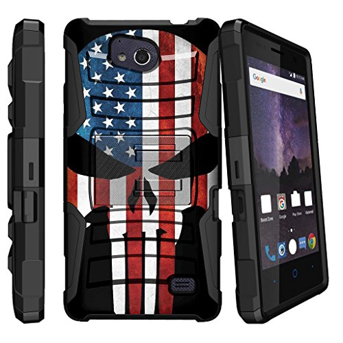 MINITURTLE Compatible with ZTE Majesty Pro (Z799VL) / ZTE Majesty Pro Plus (Z899VL) [Horizontal Viewing Stand] [Reinforced Drop Protection] 180-Degree Swivel Clip - American Flag Skull