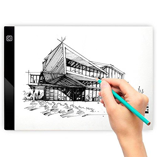 Treat Outdoor Art (LED Light Box for Drawing, A4 Ultra Thin Portable Tracing Lightbox for Kid and Adult Artist, Stepless Dimmable Brightness Pad, USB Powered Projector Kit Best for Sketching w/ Clips)