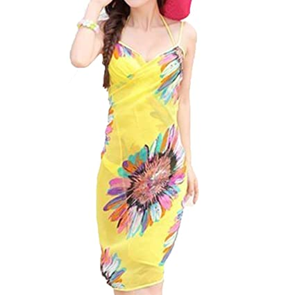 eb4f7ff9aa Amazon.com  Women Chiffon Bikini Scarf Sun Protection Sarong Wrap Dress  Beach Swimwear Cover Up Scarf Fashion Wild Shawl (Yellow)  Home   Kitchen