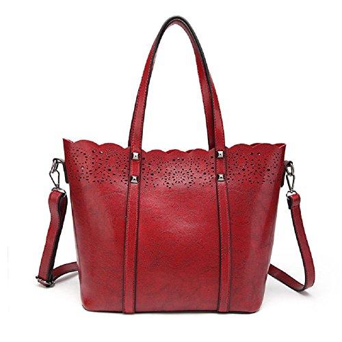 In Mano Dimensione Grande Retro Capacità Rosso Borsa Fuweiencore Vintage A colore Tracolla Vino Pelle Unica Viaggio Per Nero Taglia EqwfxtAxW8