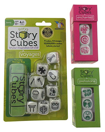 Rory's Story Cubes Voyages Bundle with Prehistoria & Enchanted Expansion Action - Enchanted Cube
