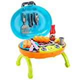 Lanlan Kitchen Pretend Play Toys BBQ Grill Barbecue Oven Toy with Simulation Light and Sound Gift for Kids Blue