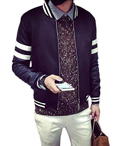 lovever Mens Long Sleeve Raglan Casual Loose Slim Fit Varsity Jackets Black L (Michael Jordan Michael Jackson)