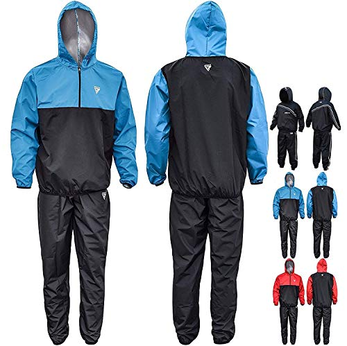 RDX MMA Sauna Sweat Suit Running Non Rip Track Weight Loss Slimmimg Fitness Gym Exercise Training,Blue,2X-Large