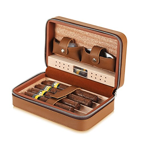 Scotte Portable Travel Cigar Humidor Case  Holds Up To 4 Cigar