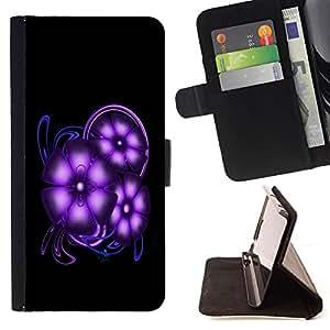 - Purple Space Flowers - - Prima caja de la PU billetera de cuero con ranuras para tarjetas, efectivo desmontable correa para l Funny HouseFOR Samsung Galaxy Core Prime