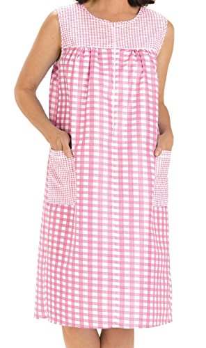 - EZI Women's Sleeveless Zipper Gingham Shift House Dress Duster ,XXX-LargeF,Pink