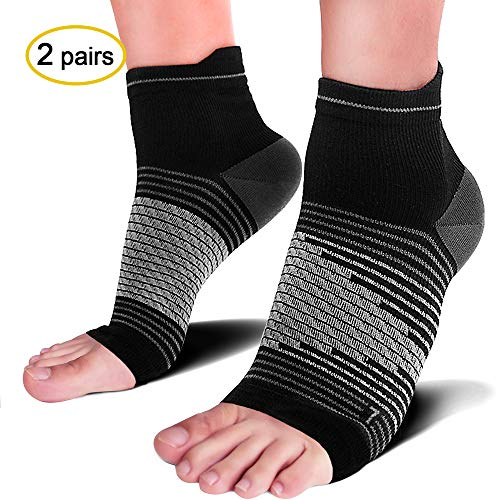 Compression Socks Sleeves (2 Pairs) for Heel Pain Relief, Best Compression Foot Sleeves with Arch Support for Plantar Fasciitis, Heel Pain, Foot & Ankle Support