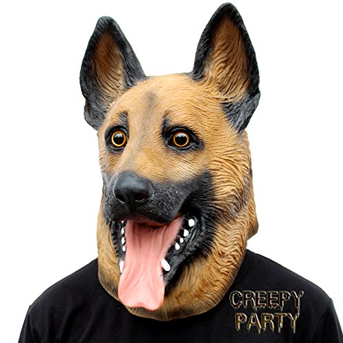 Party Pug Costume (CreepyParty Novelty Halloween Party Latex Animal Dog Head Mask Sounding German Shepherd)