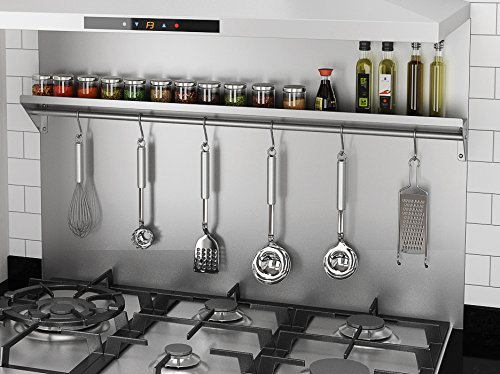 Ancona PBS-1236 36 in. x 30.75 Backsplash with Stainless Steel Shelf and Hooks by Ancona