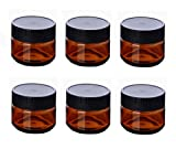 6PCS Plastic Amber Makeup Round Jars Pot with White Inner Liners and Black Lids Cosmetic Packing Vial Bottles Storage Holder Containers for Cream Lotion Facial Mask DIY Beauty Tool (60G/2oz)