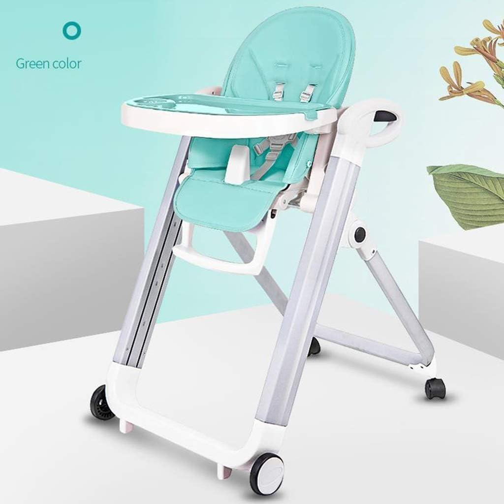 ベビーチェアハイチェア子ども椅子子供お食事椅子 幼児調節可能なポータブルHighChair赤ちゃん折りたたみ給餌多機能リフティングダイニングチェア4輪、取り外し可能なダブルトレイ&& 9種類の高さ (Color : A)