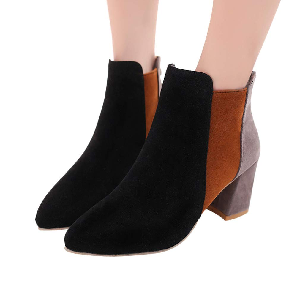 Women Pointed Toe Suede High Heel Shoes Mixed Color Boots Zipper Boot Black Mikkar