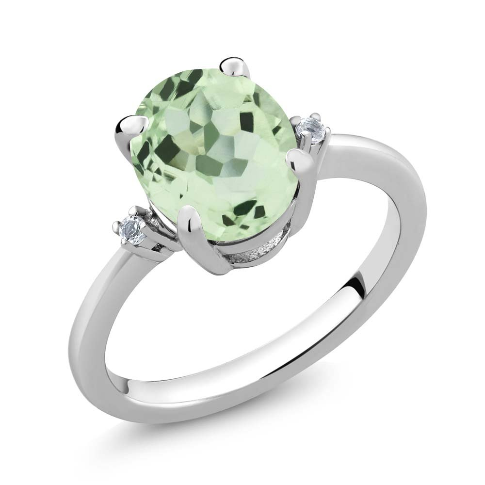 Sterling Silver Oval Green Prasiolite & White Topaz Gemstone Women's Ring (2.67 cttw, Available in size 5, 6, 7, 8, 9)