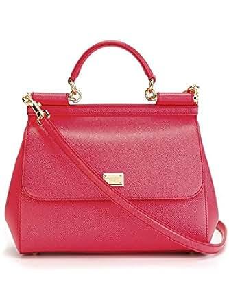 DOLCE & GABBANA Miss Sicily Coral Red Hibiscus Dauphine Leather Medium Bag Handbag Purse Tote