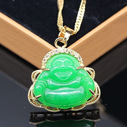 2017 Luck Happy Green Jade Buddha Pendant AAA CZ Laughing Buddha Statue Necklace Pendant (18K Gold Plated)