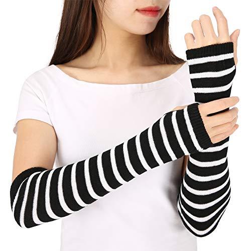 (HDE Black & White Stripe Fingerless Long Glove Thumbhole Arm Warmer Elbow Length)