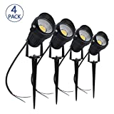 LightingWill 5W LED Landscape Lights, Warm White 3000K-3500K, Waterproof 12V COB LED Outdoor Spotlight Low Voltage Garden Light with Spike Stand for Lawn, Garden, Yard, Pathways (4 Pack)