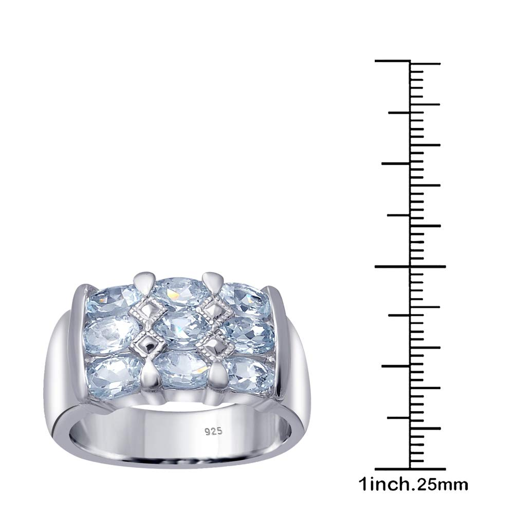 Orchid Jewelry 925 Sterling Silver Blue Topaz Cocktail Unisex Ring, (Size 8) by Orchid Jewelry (Image #5)