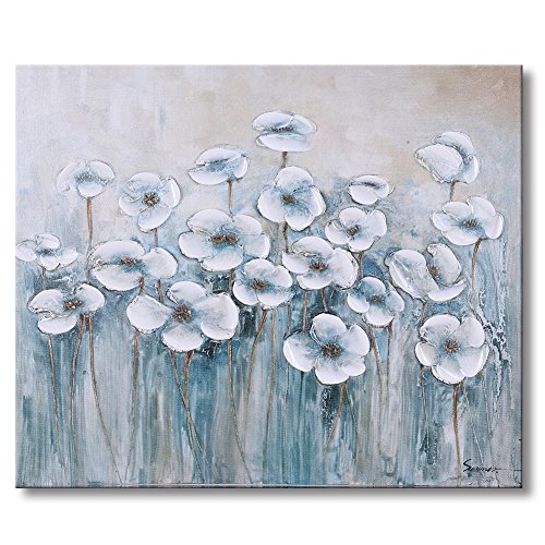 Sumeru White Flowers Canvas Wall Art Paintings Abstract Elegant Artworks for Home Living Bedroom Office Decoration,1 Piece, 20x24 inch, Stretched and - 13 Art Folk Painting