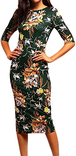 LUNAJANY Women's Green Retro Floral Sheath Midi Dress