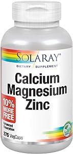 Solaray Calcium, Magnesium, Zinc   Healthy Bones, Teeth, Nerve, Muscle, Heart & Immune Support   68 Serv   275 VegCaps