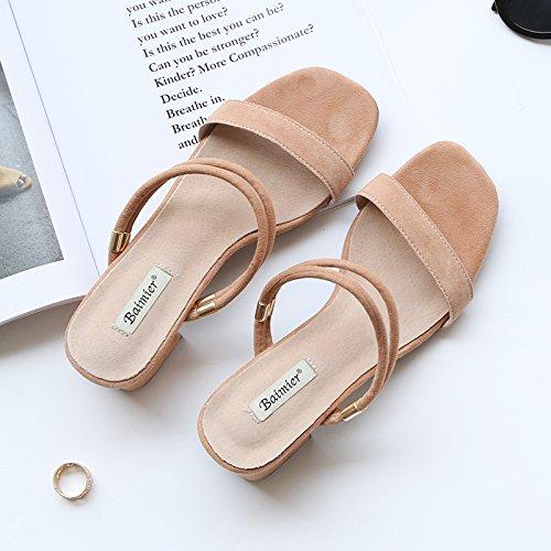 Hors Cool Chaussons unie Des Heel Outdoor SHOESHAOGE High Chaussures Couleur Fashion Deux Glissé Mot Un De Porter qFdw58aw