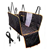 Dog Seat Cover With Side Flaps, Dog Viewing Window - Hammock Large Pet Back Seat Cover for Cars, Trucks, SUV - Non slip Waterproof Tinsin (Large with Side Flaps and Mesh Window, Black with orange)