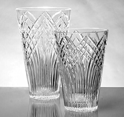 GAC Mouth Blown High Class Glass Crystal Flower Vase, Exquisite Decorative Vase Centerpiece -10