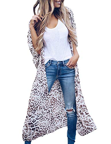 Women Oversize Animal Print Casual Robe Cover up Short Sleeve Sheer Loose Kimono Cardigan with Belt (2XL)