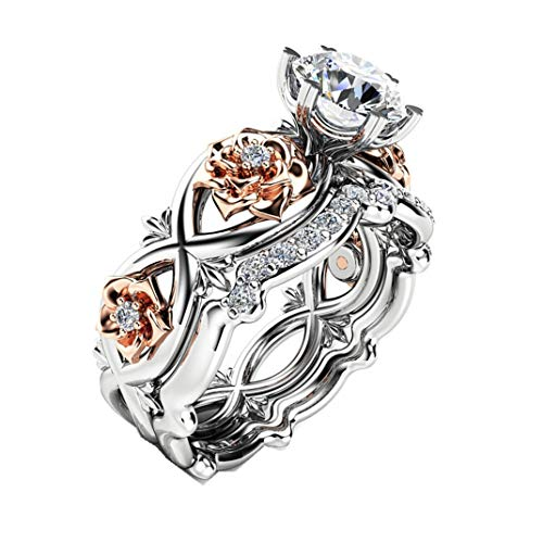 ManxiVoo Women's Rose Floral Lucky Flower Leaf Diamond Rings Wedding Engagement Jewelry Gift (Silver, 7)