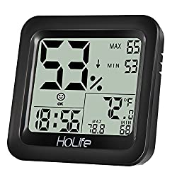 HoLife Hygrometer Thermometer, Indoor Digital Temperature and Humidity Gauge Meter Monitor with Clock and Calendar