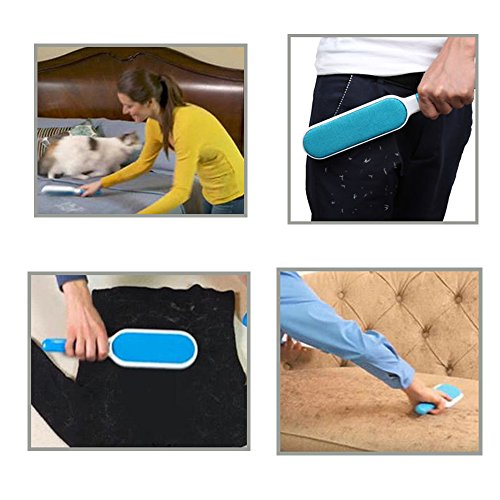 Pet Fur & Lint Remover Brush with Self-Cleaning Base, Extra-Large Double-Sided Lint Brush for Furniture,Clothes,Couch, Car Seat-Effective Dogs/Cats Hair Removal Tool (2pcs/set) by PETOU (Image #4)