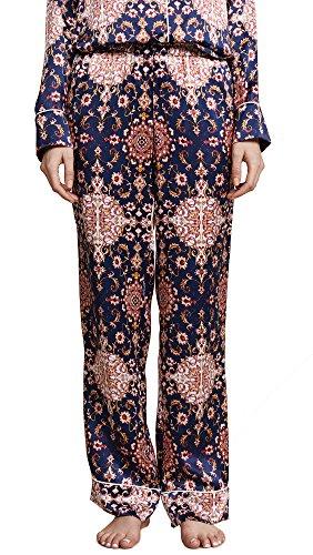 Silk Charmeuse Pants (Maison du Soir Women's Alexandra PJ Bottoms, Red, Small)