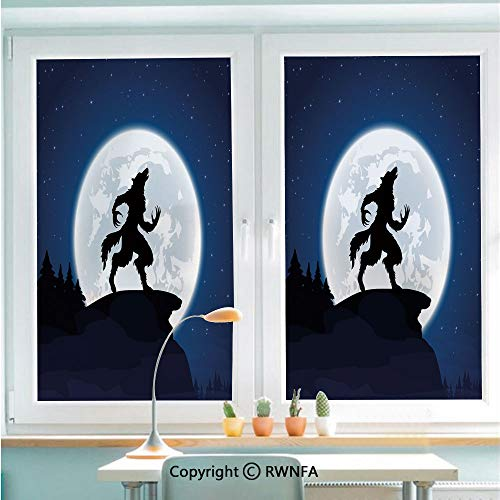Window Film No Glue Glass Sticker Full Moon Night Sky Growling Werewolf Mythical Creature in Woods Halloween Static Cling Privacy Decor for Kitchen Bathroom 22.8x35.4inches,Dark Blue Black White ()