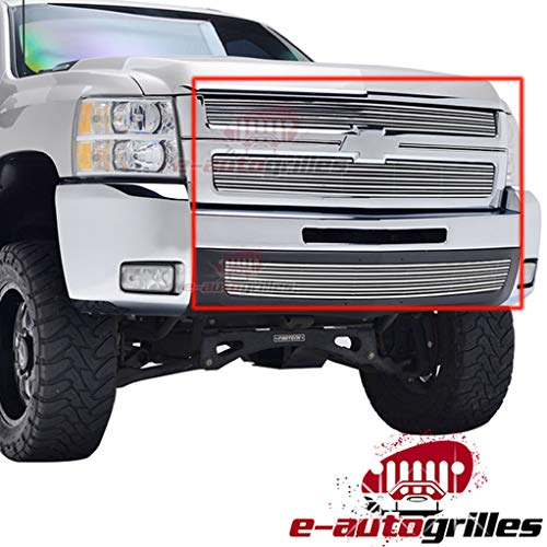 EAG 3D Horizontal Overlay Billet Grille Combo Replacement for 07-10 Chevrolet Silverado 2500HD/3500HD
