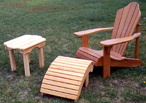 Adirondack Chair Plan with Table Plan and Footrest Plan