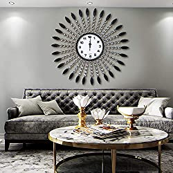 AHUA Oversized Wall Clock, Retro Black Leaf & Crystal Metal Clock 27 Vintage European Style Battery Operated with HD Glass Easy to Read for Villa, Hotel, Living Room Wall Decoration (Crystal & Leaf)
