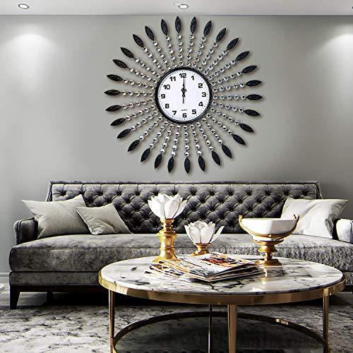 AHUA Oversized Wall Clock, Retro Black Leaf & Crystal Metal Clock 27