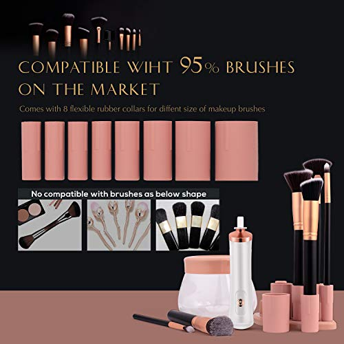 Upgraded Makeup Brush Cleaner and Dryer Machine, Electric Automatic Cosmetic Brush Spinner Fast Wash and Dry Makeup Brushes, Brush Cleaner with 8 Size Rubber Collars and 1 Brush Cleaning Mat