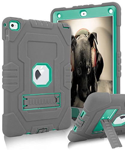 iPad Air 2 Case,Topsky Three Layer Kickstand Soft Silicone &