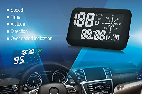 Echoman EM03A Universal GPS Car Head Up Display, HUD, Speedometer, Time, Direction, Altitude, Over speed Indication, Plug & Play, for all Car Models
