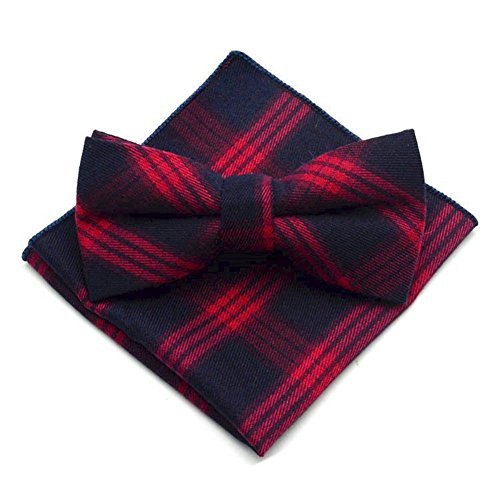 Secdtie Men's Navy Blue Red Layers Bow Tie Tuxedo Bowtie for Wedding Party 29