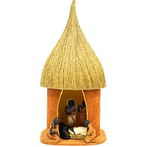 Handcrafted African Bark Cloth Hut Fair Trade Nativity