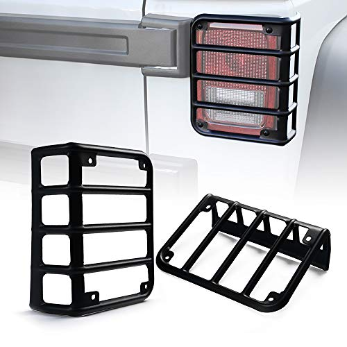 (Xprite Matte Black Light Guard Rear Tail Light Cover for 2007-2018 Jeep Wrangler JK Unlimited - Pair)