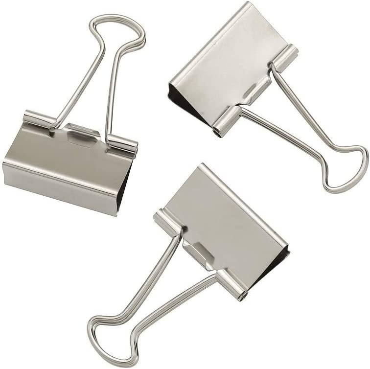 SILVER BINDER CLIPS LARGE  2 INCHES  QTY 8