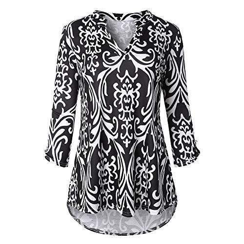 Asymtrique Femme V Lache Imprim Longue Fleur Col Noir Blouse Tunique Cocohot Chemises Longues pliss Manches Shirt vdq1AgW